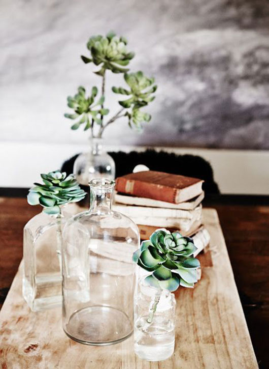 glass jars and succulants at the estate trentham / sfgirlbybay