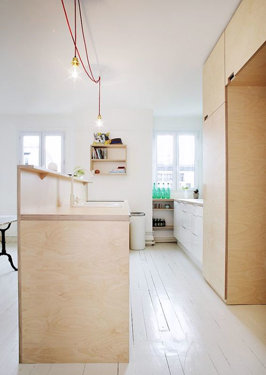 plywood kitchen and white painted wood floors via remodelista / sfgirlbybay