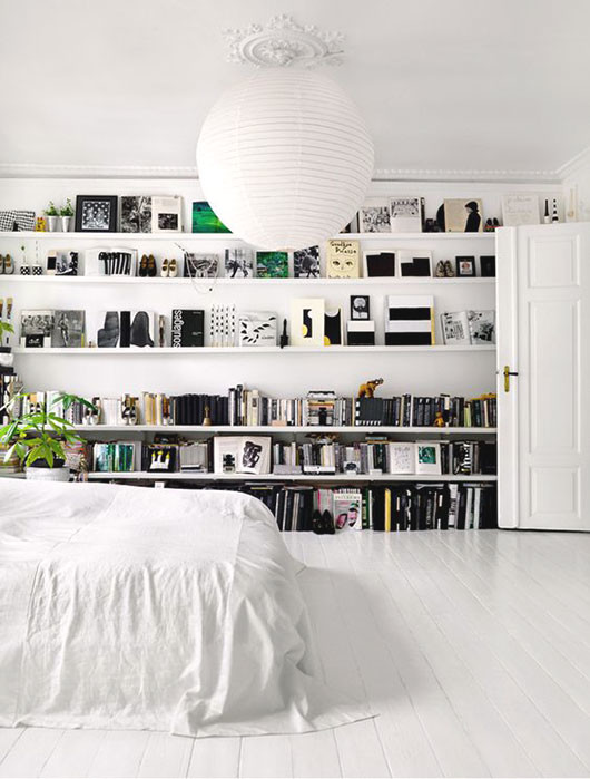 white bedroom with built-in book shelves / sfgirlbybay