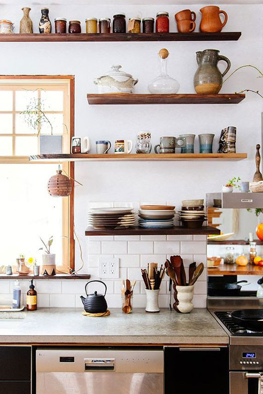open kitchen shelving with eclectic dishware / sfgirlbybay