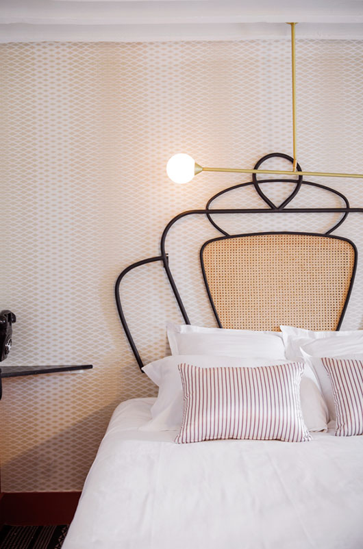 pale nude wallpaper print at hotel panache, paris via chzon. / sfgirlbybay
