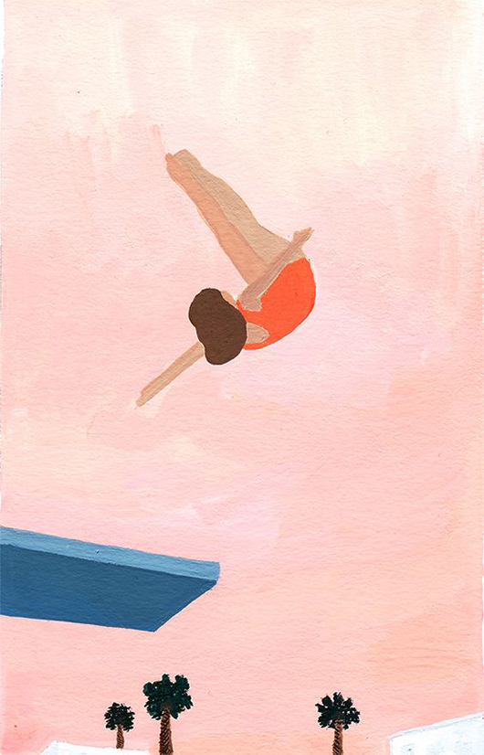 painting of woman diving into a swimming pool / @sfgirlbybay