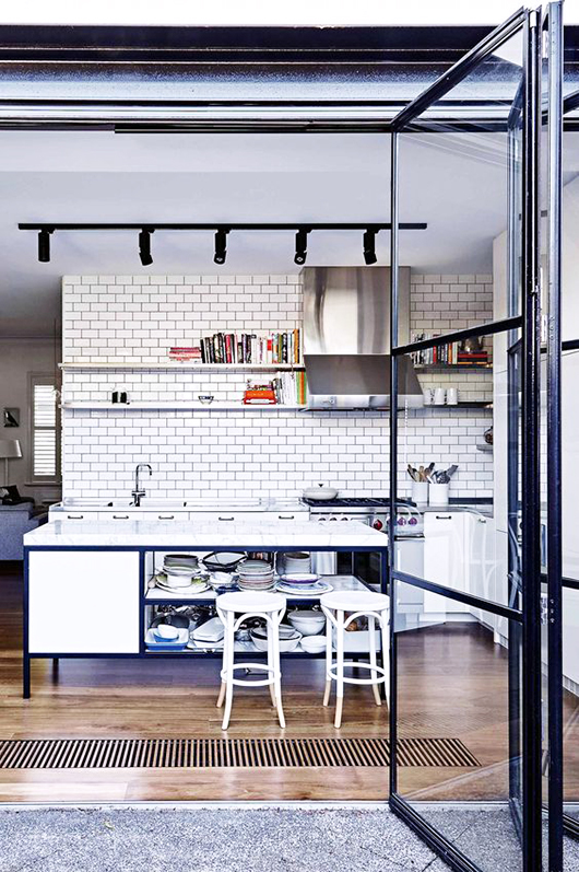 kitchen with black steel and glass door / sfgirlbybay