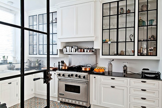 black steel frame and glass kitchen cabinets and door / sfgirlbybay