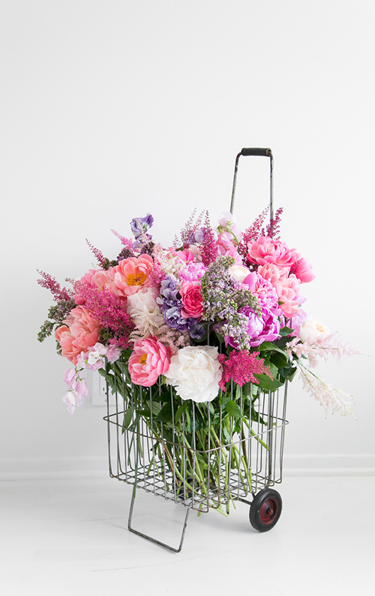 metal rolling cart with farm fresh flowers from Flower Muse / sfgirlbybay
