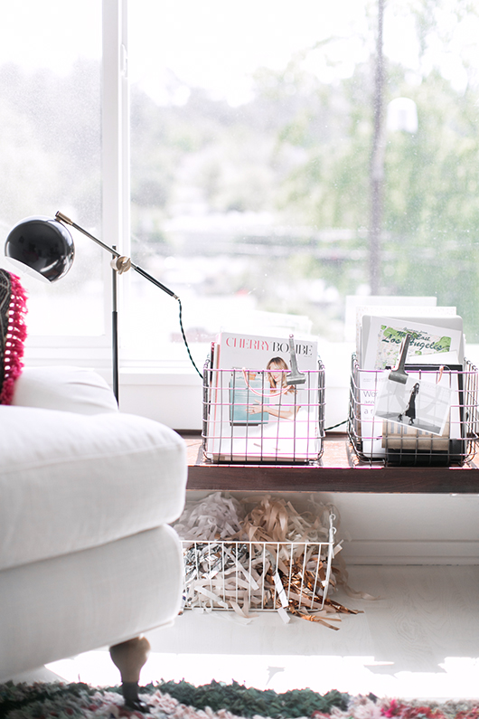 pink wire baskets for office storage / sfgirlbybay