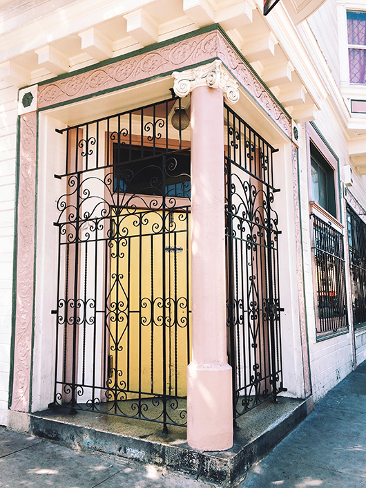 See San Francisco image of pink trim and column with black gate / sfgirlbybay