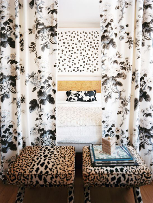 black and white textiles in lonny magazine editor in chief's bedroom / sfgirlbybay