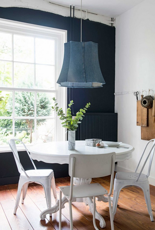 oversized pendant lamp with denim shade over white shaby chic dining table. / sfgirlbybay