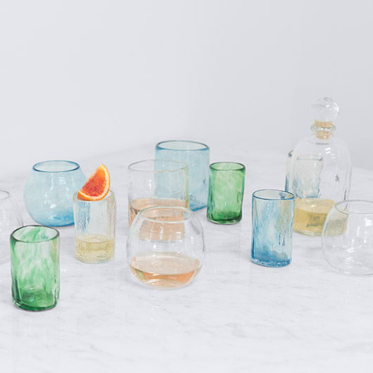 artisan glassware on a marble countertop from the citizenry / sfgirlbybay