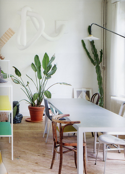 image of potted green houseplants and large table with mismatched chairs from greenterior / sfgirlbybay