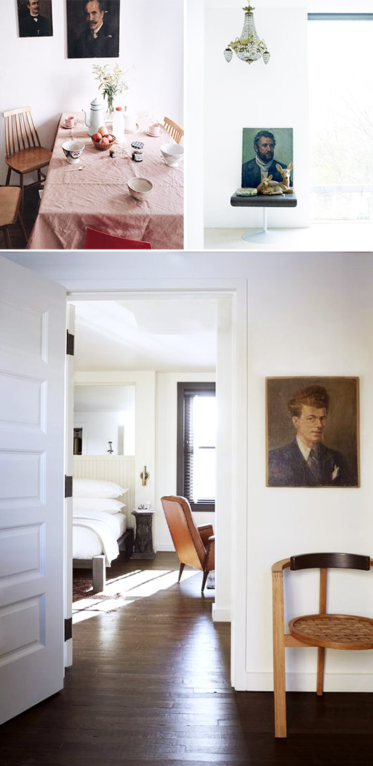 vintage portrait paintings hung in unexpected places / sfgirlbybay