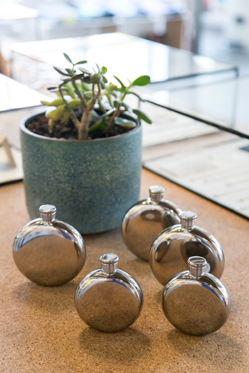 flasks and ceramic pot with succulent for sale at hemingway & pickett / sfgirlbybay