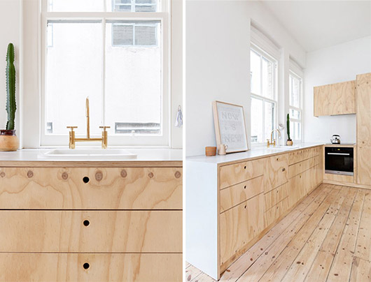 plywood kitchen with white walls / sfgirlbybay