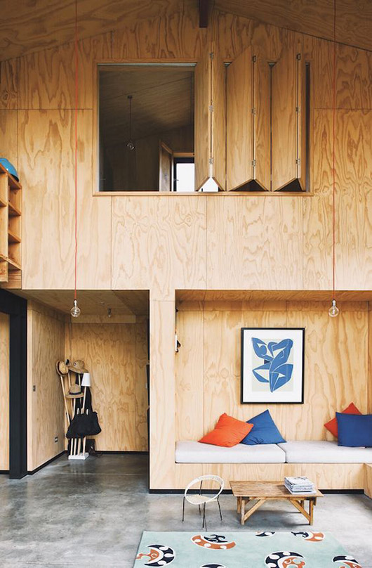 modern cabin with plywood walls and built-ins / sfgirlbybay