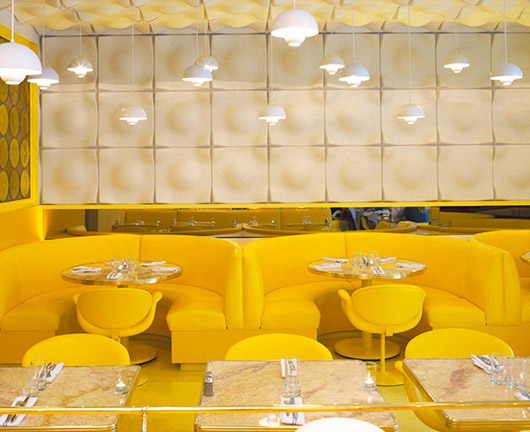 yellow and white modern dining room at the standard / sfgirlbybay