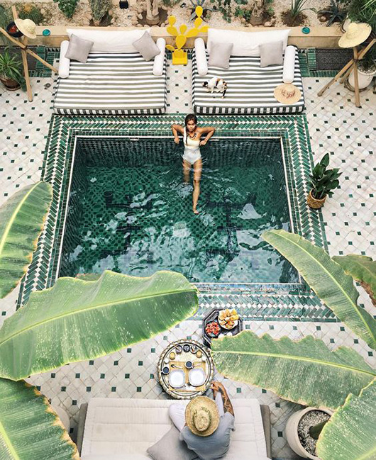 green pool and patterned tile in morocco / sfgirlbybay