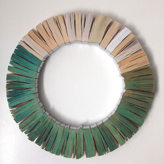 books in a wreath with the pages painted green / sfgirlbybay