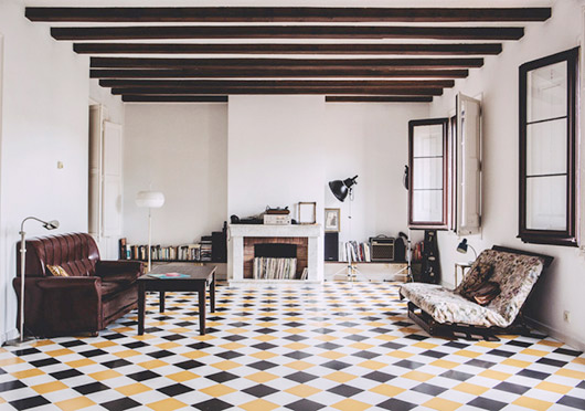 harlequin tile floors in white, yellow and black / sfgirlbybay