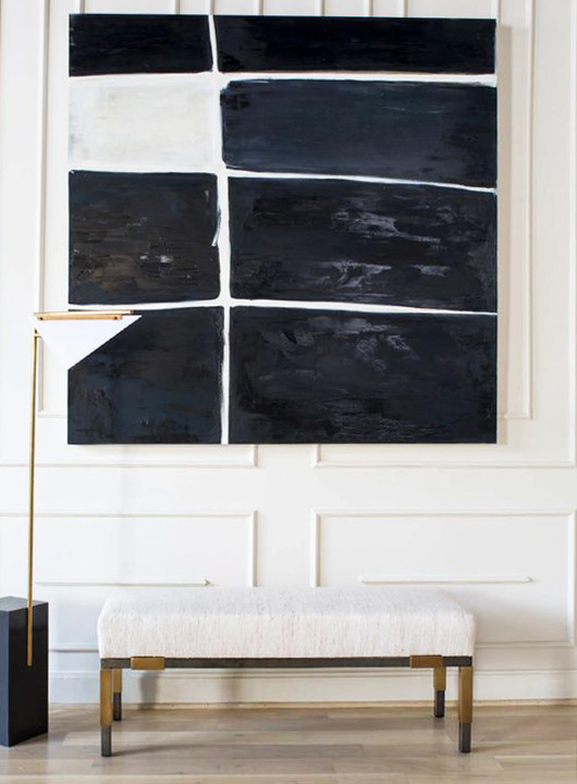 graphic black and white painting over bench / sfgirlbybay