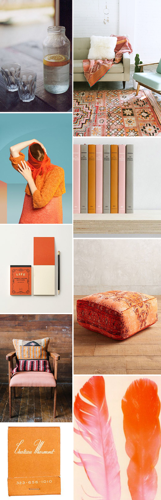 home decor with pops of orange / sfgirlbybay