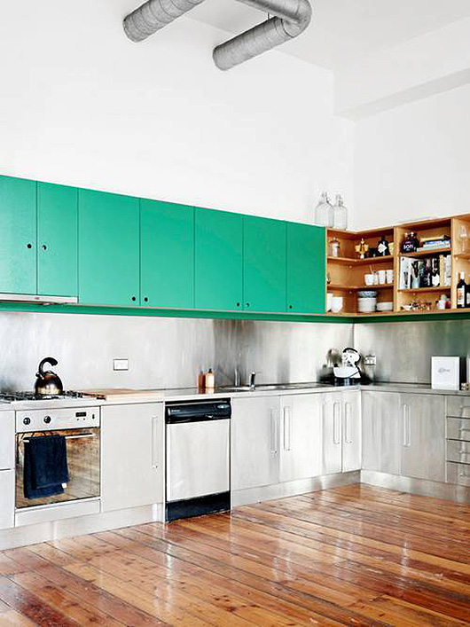 domino green and stainless steel kitchen decor / sfgirlbybay