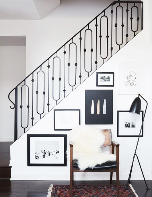 hallway gallery wall with serge mouille light fixture / sfgirlbybay