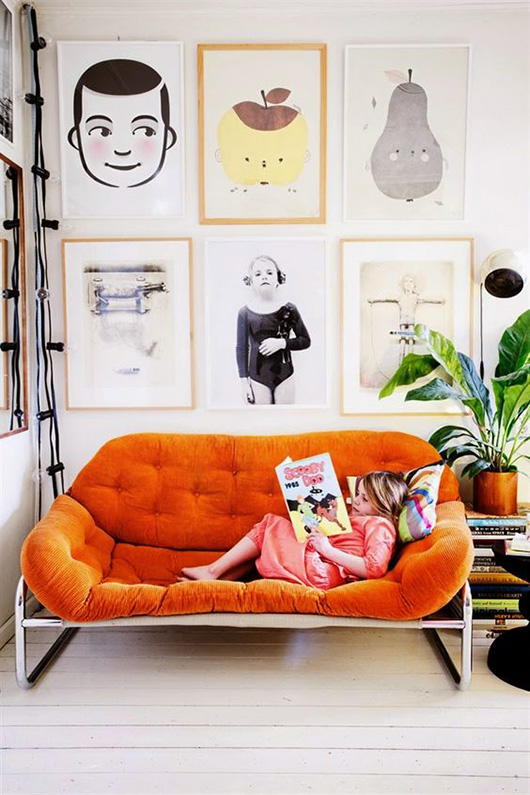 orange button-tufted sofa / sfgirlbybay
