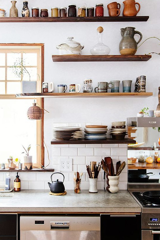 rustic wood shelves as kitchen pantry storage for dishware / sfgirlbybay
