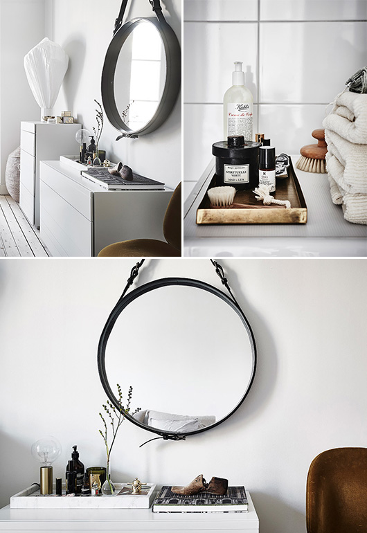 white walls and lovely details in modern bedroom and bathroom. / sfgirlbybay