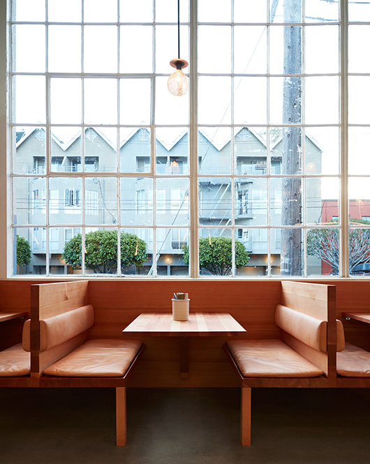 custom wood and leather benches at tartine bakery. / sfgirlbybay