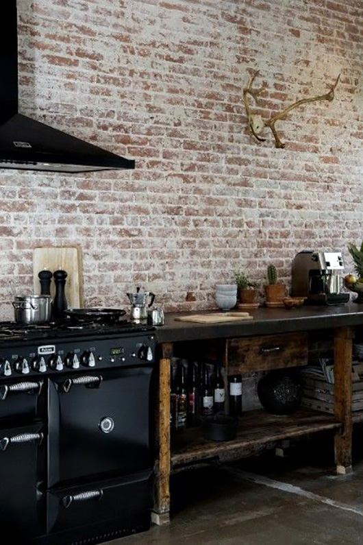 black kitchen appliances and rustic wood shelving / sfgirlbybay