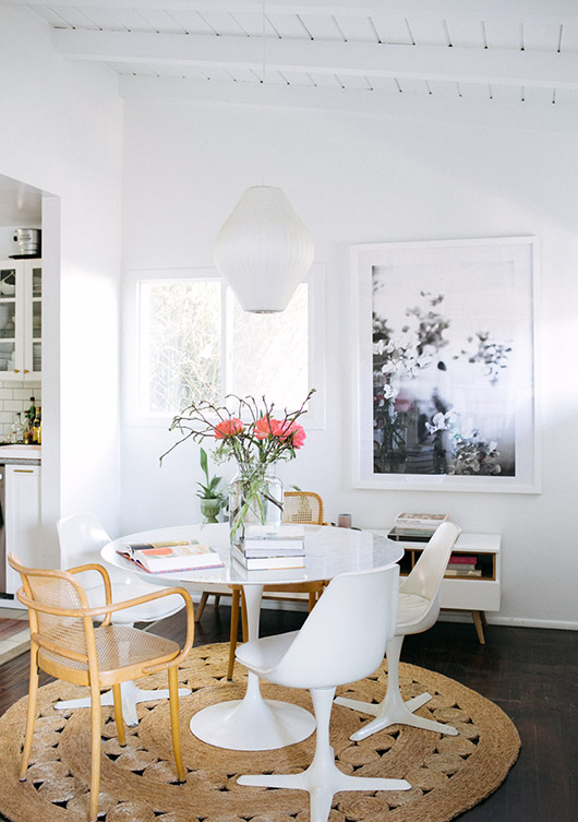 bohemian modern dining room with rug from armadillo & co. / sfgirlbybay