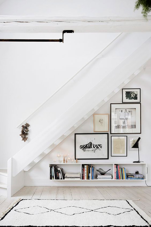 art gallery wall under staircase. / sfgirlbybay
