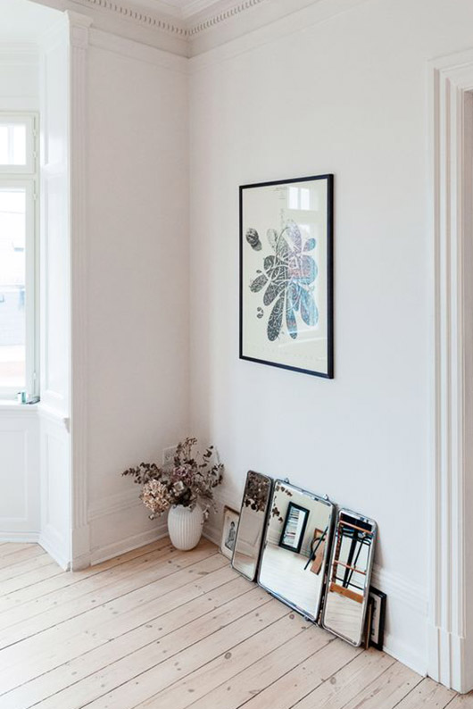 framed art print and mirrors below.  / sfgirlbybay