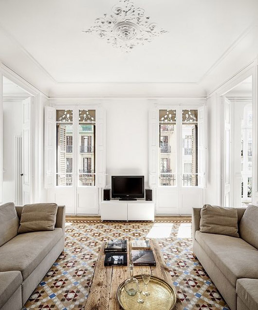 patterned tile in living room with ornate ceiling medallion / sfgirlbybay