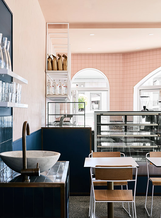 modern cafe with pink walls. / sfgirlbybay
