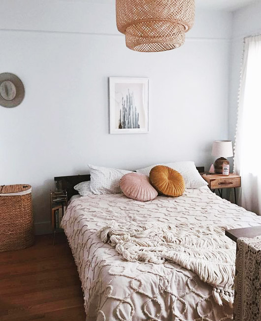 woven light fixture and moroccan vibe bedding. / sfgirlbybay