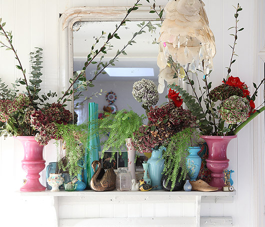 curated collection of colorful glassware and florals by light locations. / sfgirlbybay