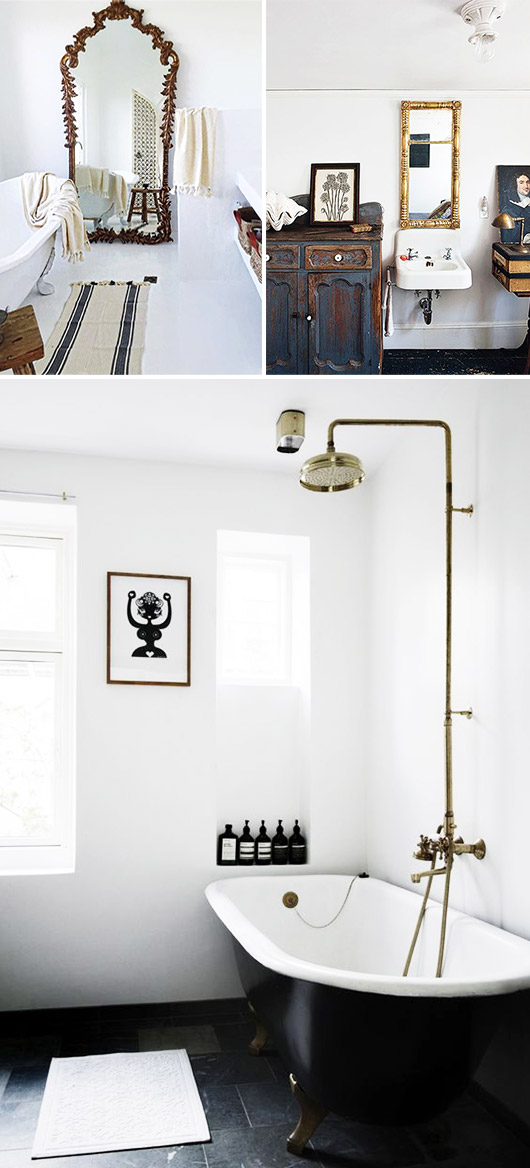 brass details in black and white bathrooms. / sfgirlbybay