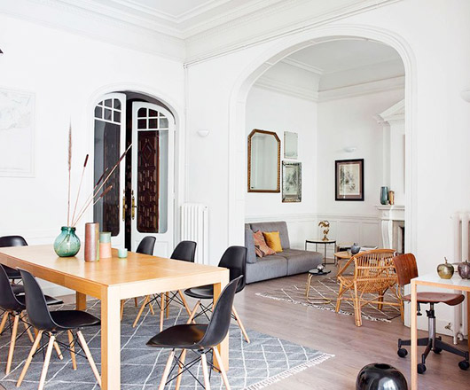 dining room and living room with arched doorways via A & B curated. / sfgirlbybay