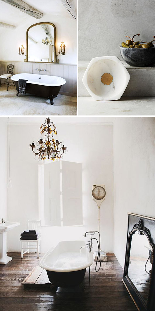 black and white bathroom decor with brass fixtures. / sfgirlbybay