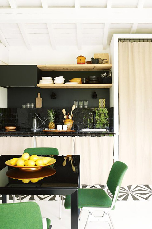 green dining chairs in modern kitchen. / sfgirlbybay