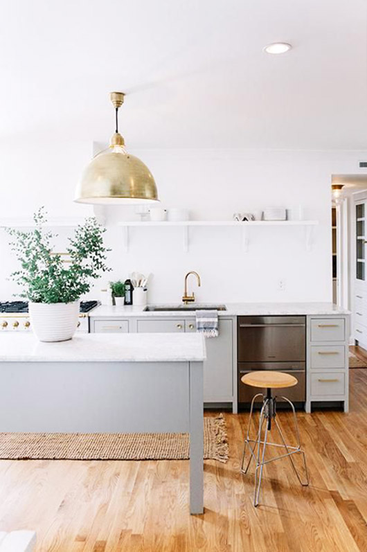 gray kitchen island and cabinets. / sfgirlbybay