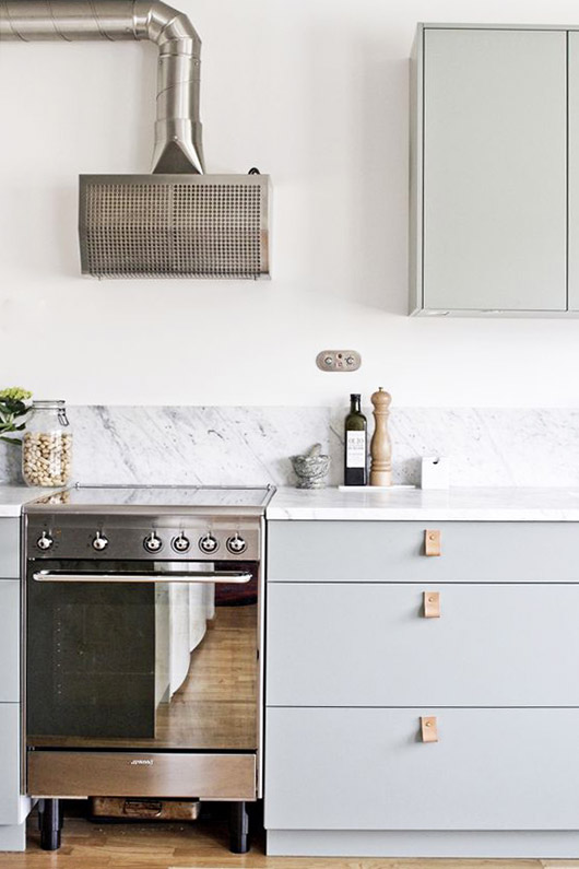 gray lower kitchen cabinets and drawers. / sfgirlbybay