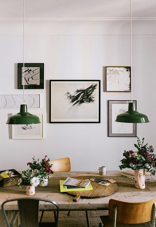 green pendant lamps with art gallery wall. / sfgirlbybay