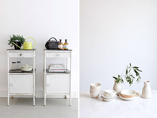 white vintage cabinets and white ceramics. / sfgirlbybay