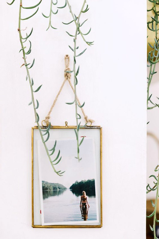 string-hung beach photograph with hanging succulent. / sfgirlbybay