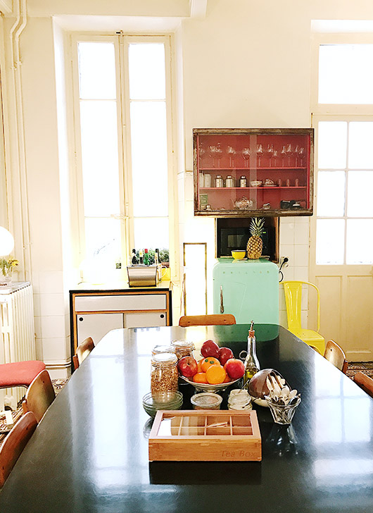 colorful kitchen decor and furnishings at pension edelweiss. / sfgirlbybay