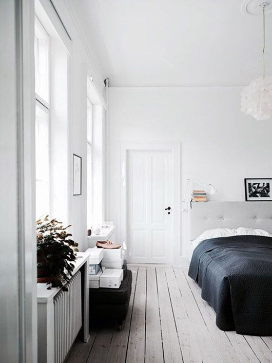 calm bedroom decor with whitewashed wood floors. / sfgirlbybay